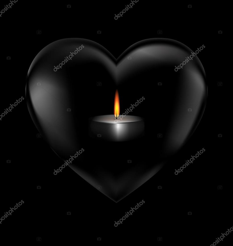 Fotos Corazon Negro Corazón Negro Y Vela Ardiente Vector De