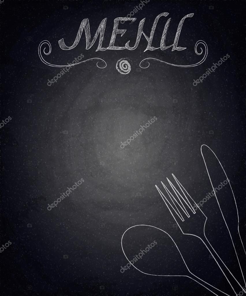 Menu Of Restaurant On Black Chalkboard Background Stock Vector