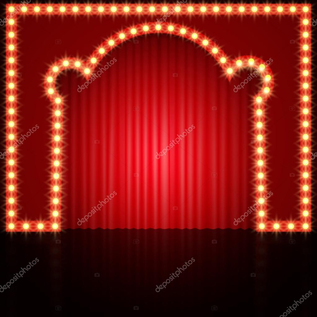 Empty stage curtains with lights - Empty Stage With Red Curtain Stock Vector 119979654