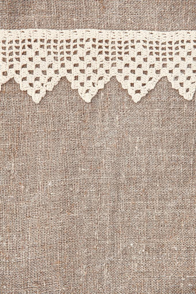 Burlap Background With Lacy And Linen Cloth Stock Photo