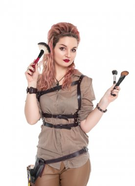 Makeup artist with brush