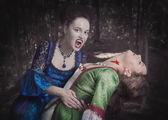 Fotografie Schönen Vampir Frau in mittelalterlicher Tracht und ihr Opfer