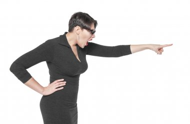 Angry teacher woman pointing out isolated