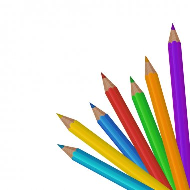 Colorful colored pencils on the white background