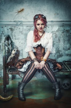 Beautiful steampunk witch in the abandoned room