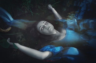 Terrible drowned dead ghost woman