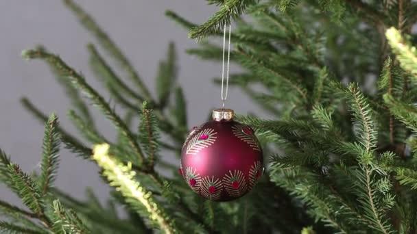 Vánoční ples visící na slavnostním vánočním stromečku.