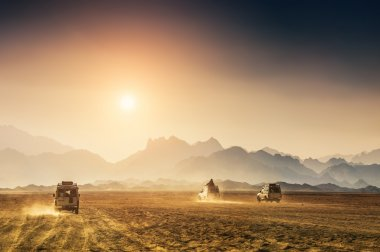 Car travel in the desert
