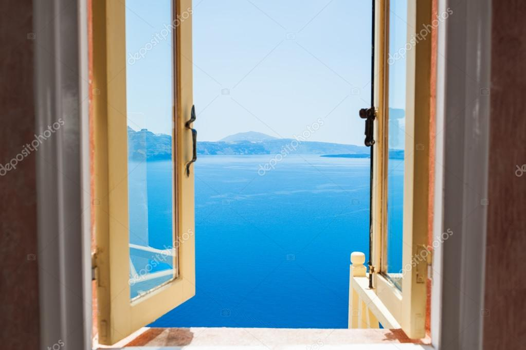 Open window with beautiful sea view.
