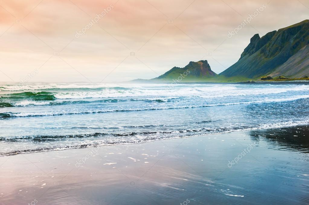 Beautiful coast of the Atlantic ocean with mountains view