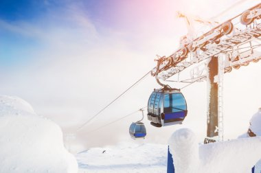 Cable car on the ski resort.