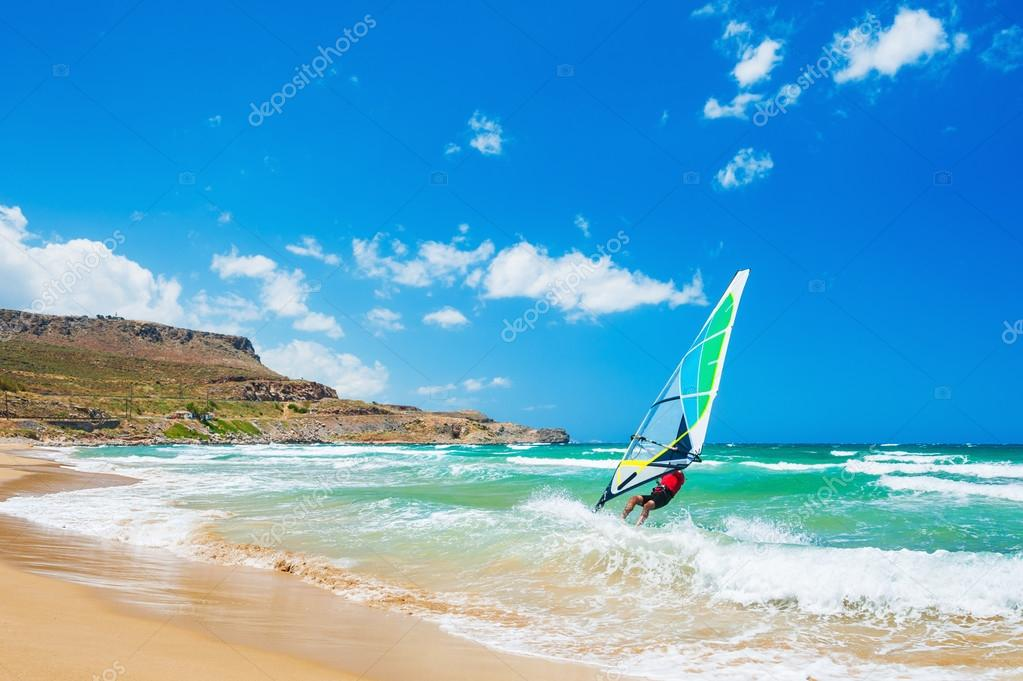 Windsurfing on the sea coast