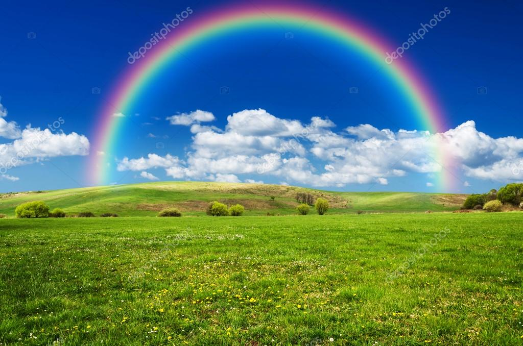 Rainbow In The Blue Sky On Sunny Day. Stock Photo - Image ... |Real Rainbows In The Sky On A Sunny Day
