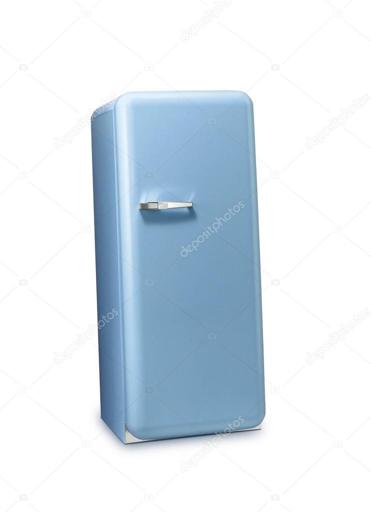 ein retro k hlschrank blau stockfoto shutswis 118058644. Black Bedroom Furniture Sets. Home Design Ideas