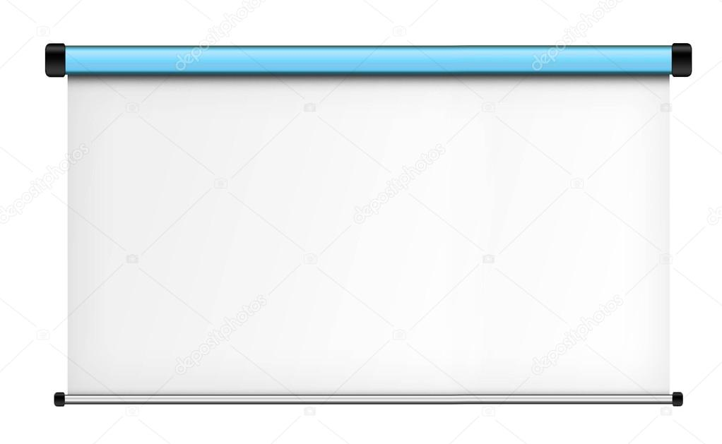 Projector screen isolated on white background  — Stock Photo