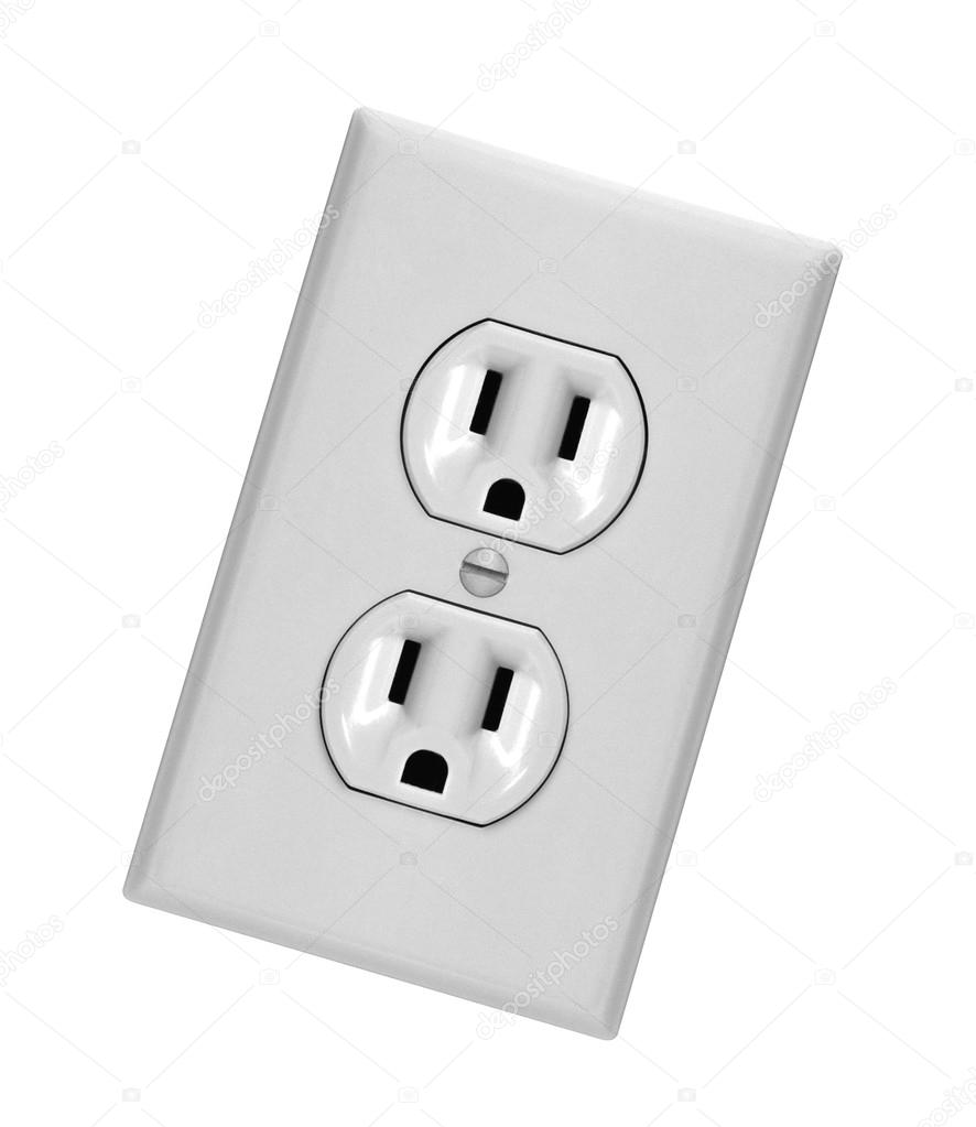 white electric wall outlet receptacle — Stock Photo © shutswis #92524972