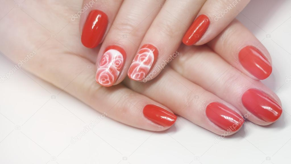 Nail Design Manicure Nail Paint Beautiful Female Hand With