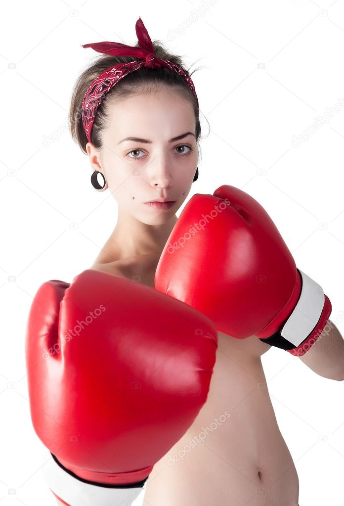 Photo Of A Naked Girl In The Ring With Boxing Gloves Free Image