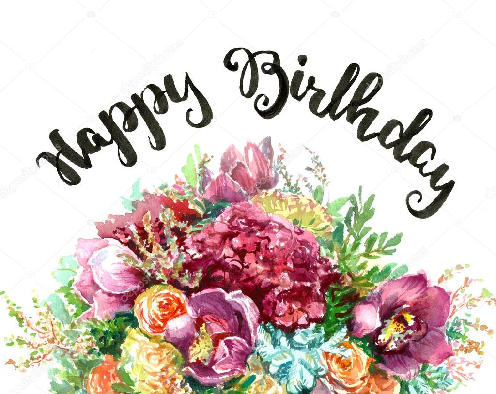 Greeting card with happy birthday and bouquet stock photo greeting card with hand written lettering happy birthday and bouquet of flowers photo by ninanaina izmirmasajfo