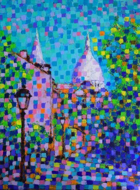 Art painting of the Montmartre street in Paris