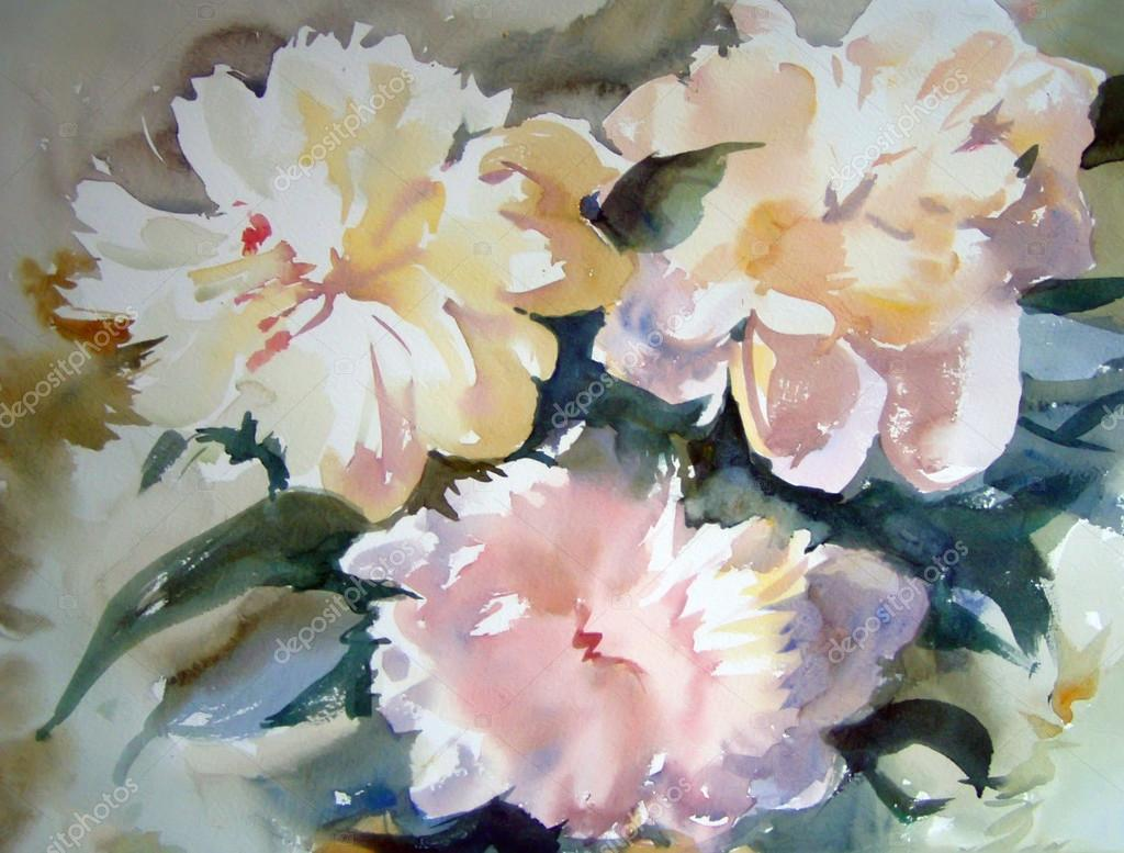 Watercolor painting of the beautiful flowers stock photo watercolor painting of the beautiful flowers stock photo izmirmasajfo