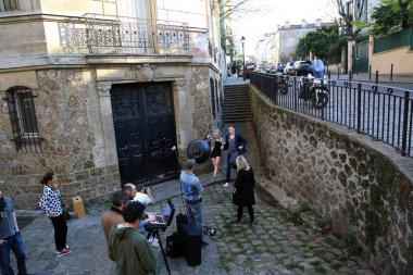 Filming on Montmartre in Paris, France on 23.04.2015