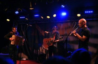 Boris Grebenshikov and his group - Brian Finnegan, Alan Kelly, John Joe Kelly Playing in New Morning jazz club on September 27, 2015 in Paris, France