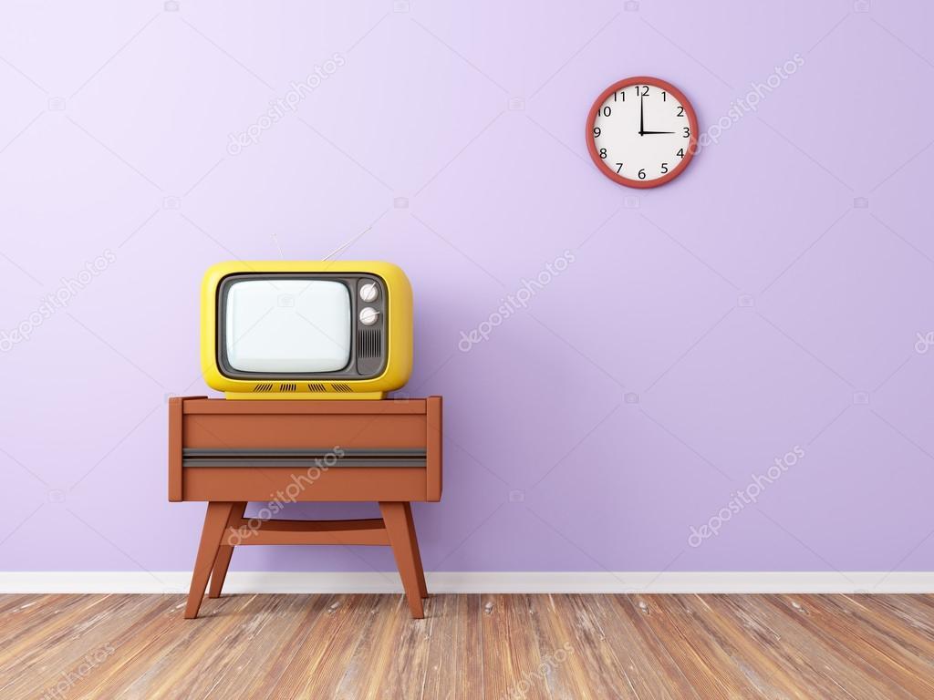 Szoba retro tv és a háttér-fali óra. 3D-s illusztráció — Fotó szerzőtől  ilterriorm 4088bc3778