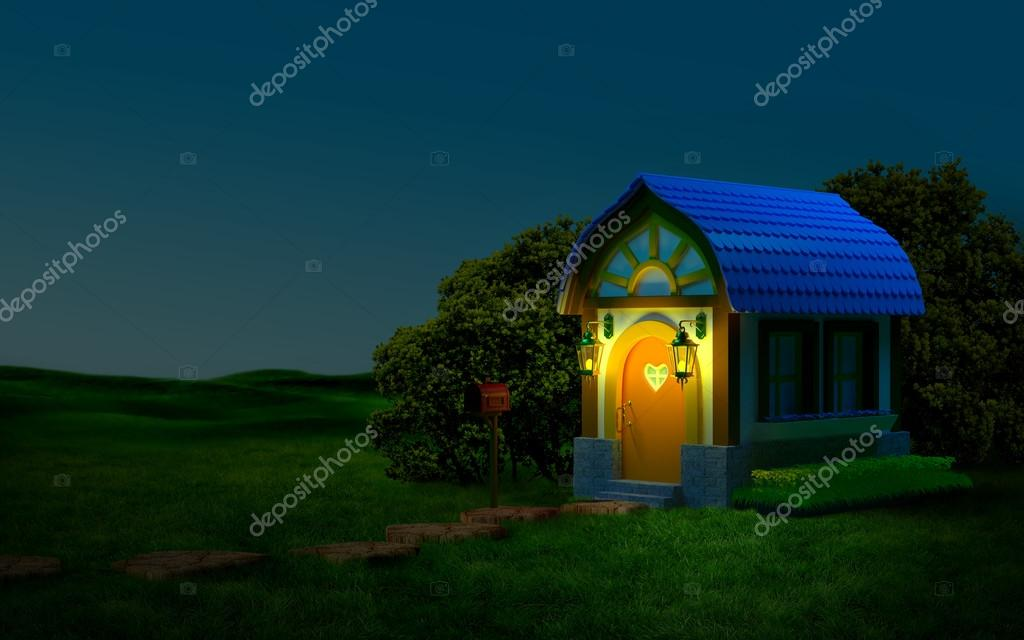 house with a mailbox at night
