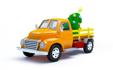 old truck with Christmas tree