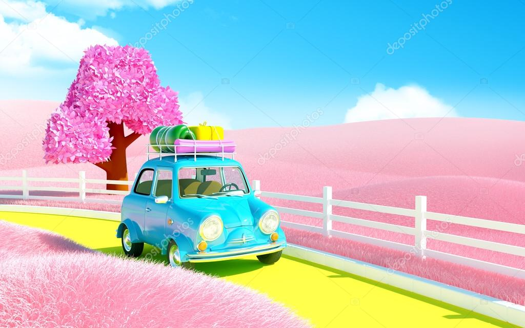small car in pink field
