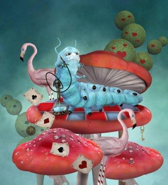 Hookah smoking Caterpillar with upon a mushroom with pink flamingos