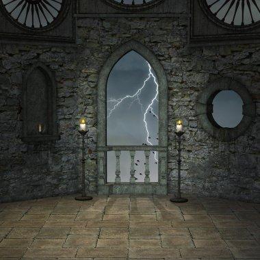 Empty castle room