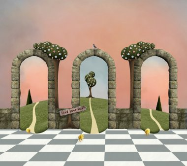 Wonderland series - Make your choice, conceptual background stock vector