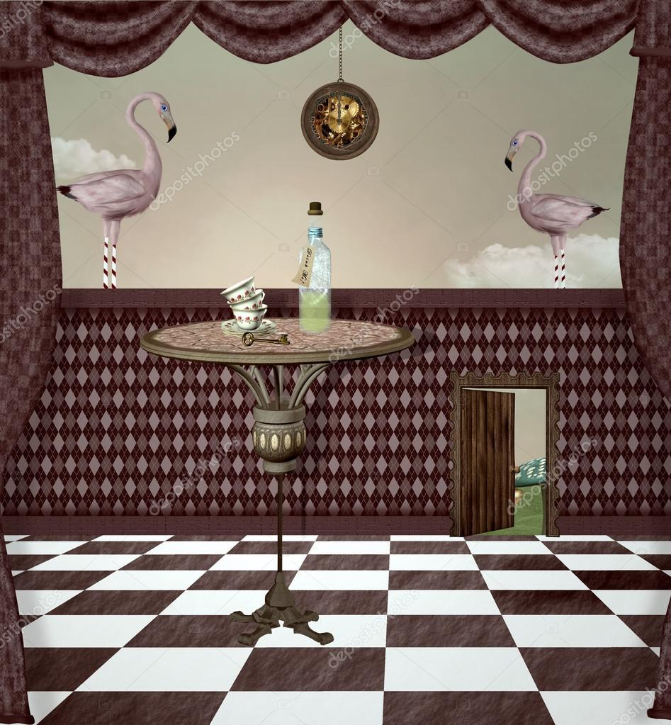Sala surrealista pa s de las maravillas foto de stock for Sala maravillas
