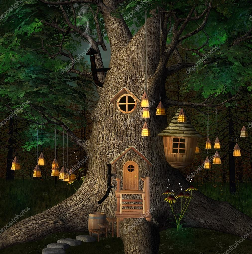 Tree house by night with lanterns