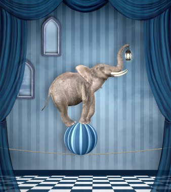Elephant with lantern on ball