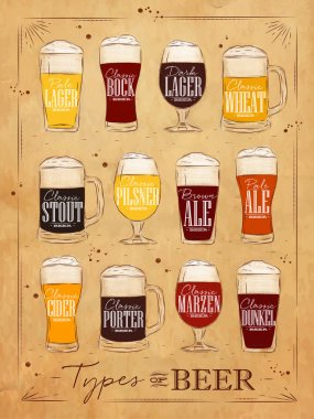 Poster beer types with main types of beer pale lager, bock, dark lager, wheat, stout, pilsner, brown ale, pale ale, cider, porter, marzen, dunkel drawing in vintage style on kraft background stock vector
