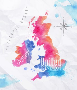 Watercolor map United kingdom and Scotland pink blue