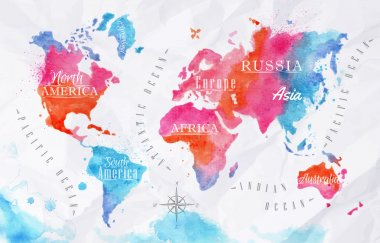 Watercolor world map in vector format in pink and blue colors on a background of crumpled paper clip art vector