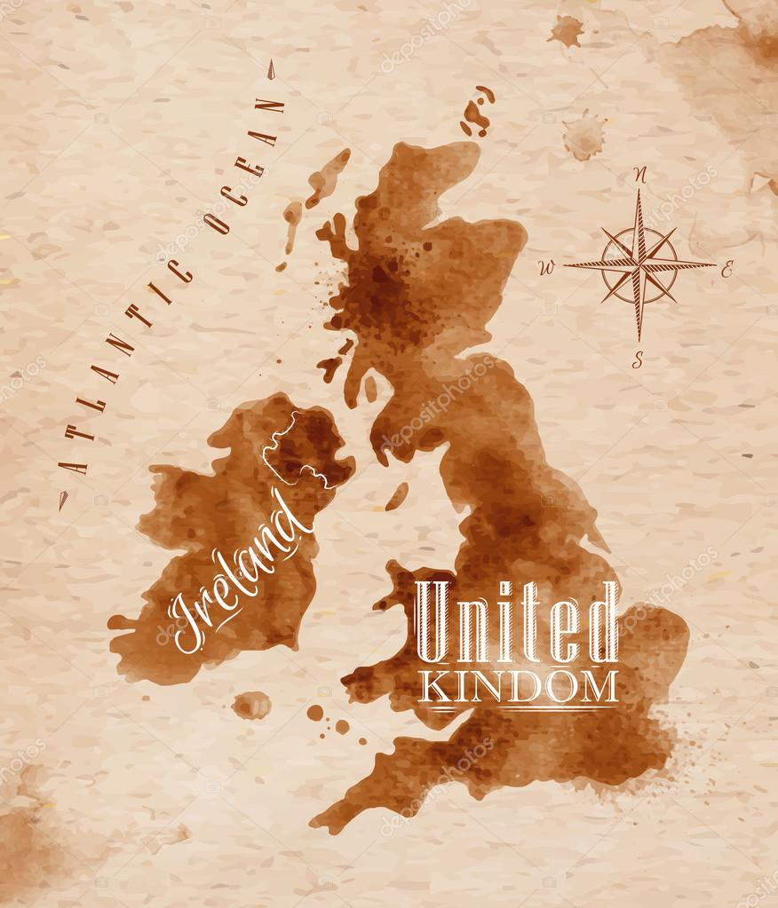 Map United kingdom and Scotland retro
