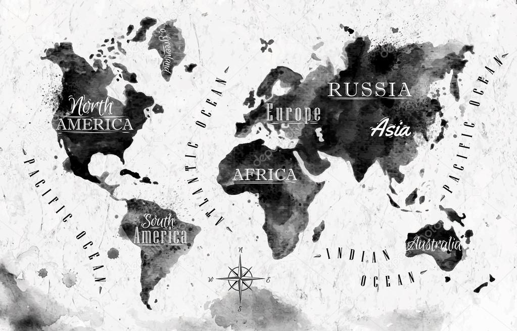 Carte du monde d 39 encre image vectorielle anna42f 54766065 - Photos noir et blanc vintage ...
