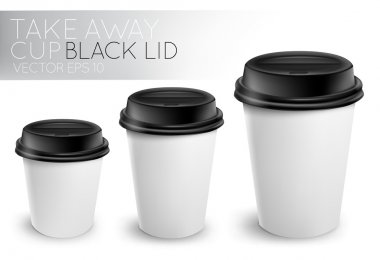 Take away paper cup black cap