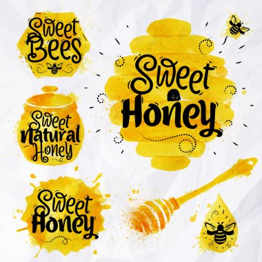 Watercolors of symbols on the topic of honey honeycomb, beehive, spot, the keg with lettering sweet honey, natural honey, sweet bees clip art vector