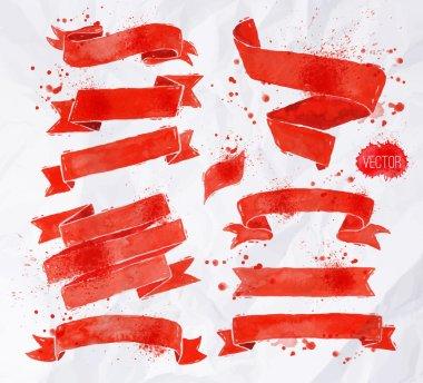 Watercolors ribbons red