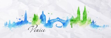 Silhouette watercolor Venice
