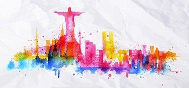 Silhouette overlay city Rio de Janeiro