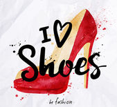 Fotografie Akvarel plakátu nápis miluji boty
