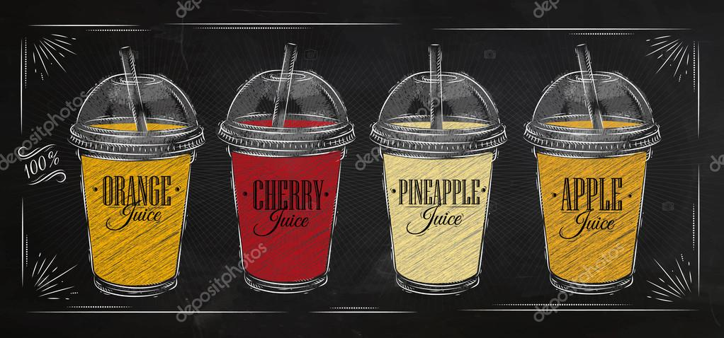 Poster set of juice chalk