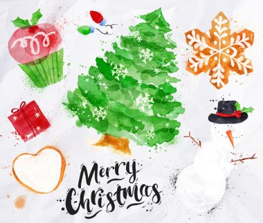 Watercolor Christmas symbols
